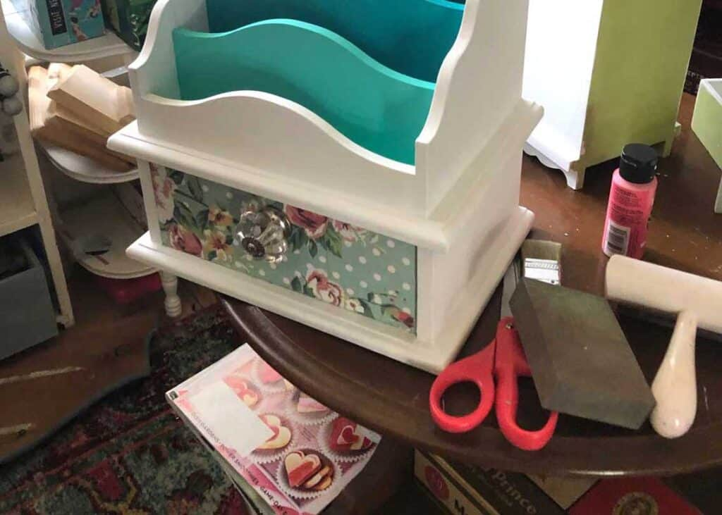 Decoupage paper drawer front - thrift store crafts