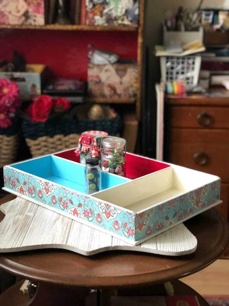 Thrift Store Crafts - Paint & Decoupage Storage Box (Teal and Red)