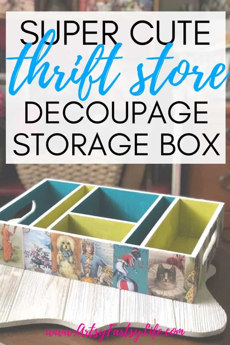 Thrift Store Crafts - Decoupage Storage Box (Blue and Green)