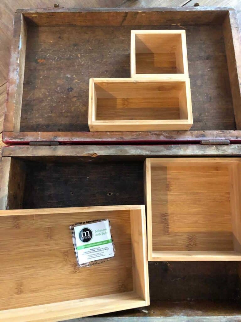 Bamboo divider boxes for my art supplies case