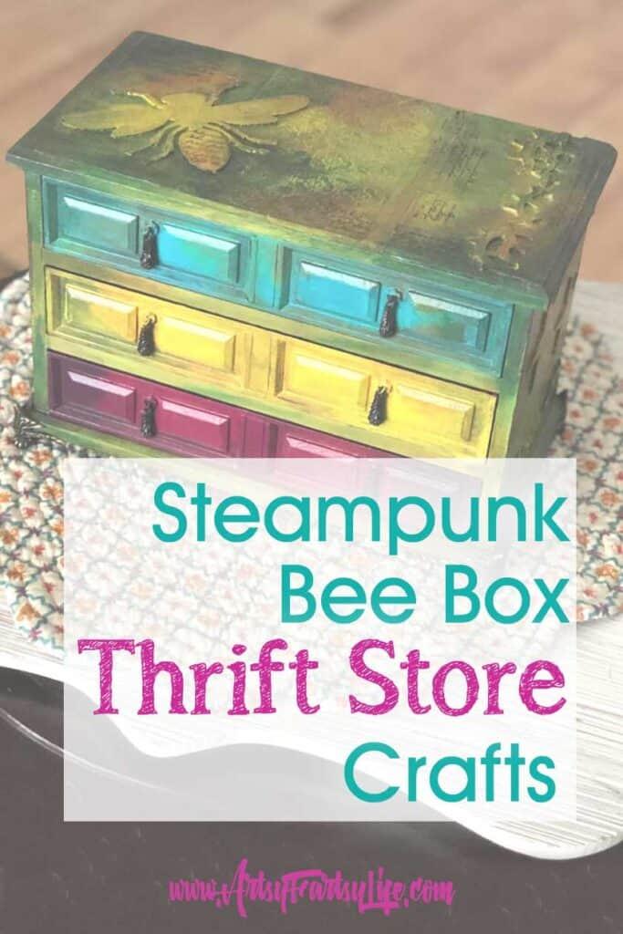 Steampunk Bee Box - Thrift Store Jewelry Box