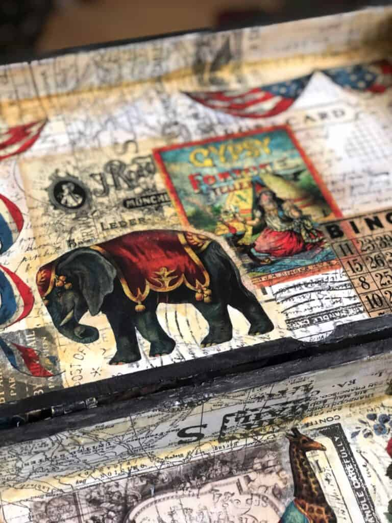 Inside the steampunk box - vintage mod podge
