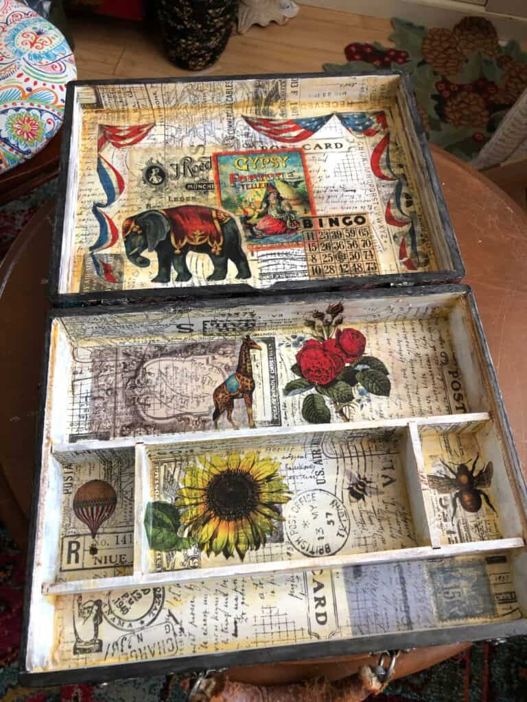 Inside the vintage steampunk artist box