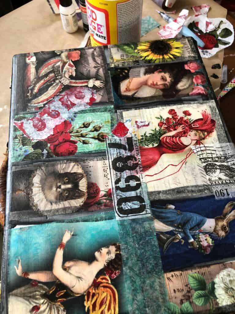 "Adding ""grunge"" with gel plate and Tim Holtz tissue paper and labels"