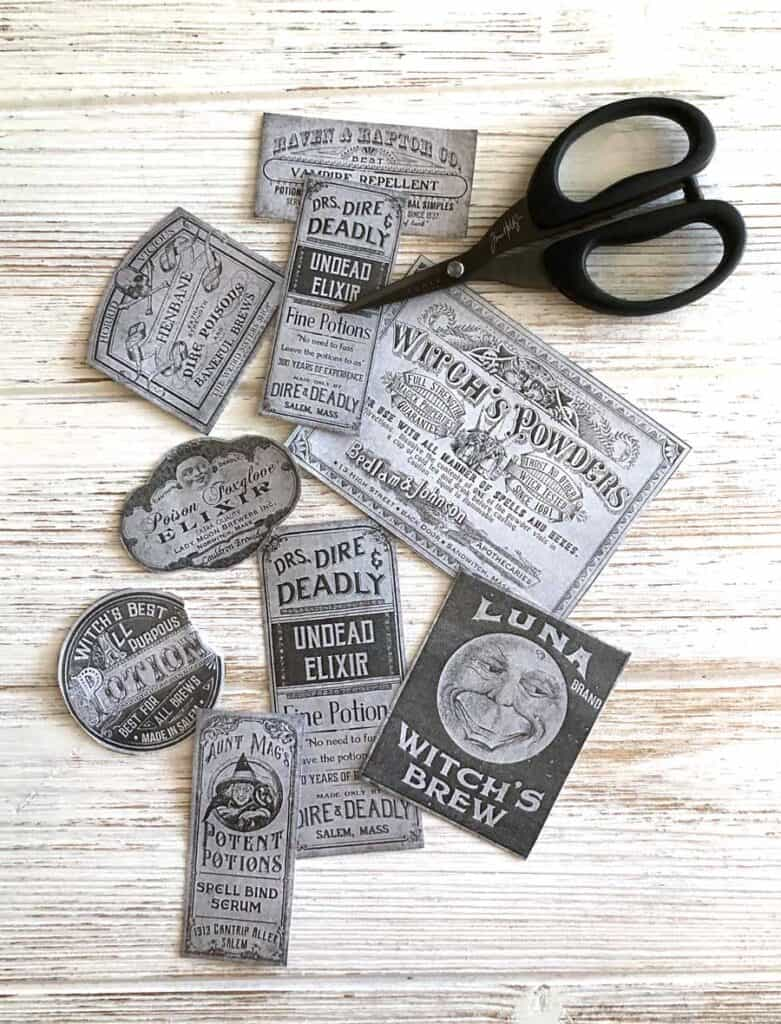 Cut out the labels - Etsy downloads and Tim Holtz Scissors