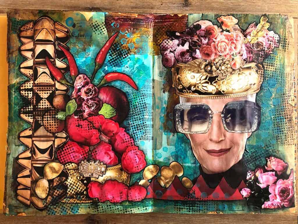 Finished Steampunk Mixed Media Collage - Sunglasses Lady