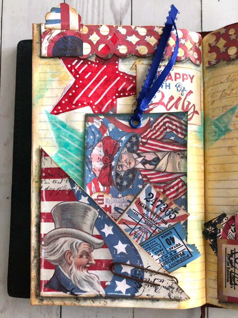 Close up of 4th of July Tuck Spot and Journalling Card