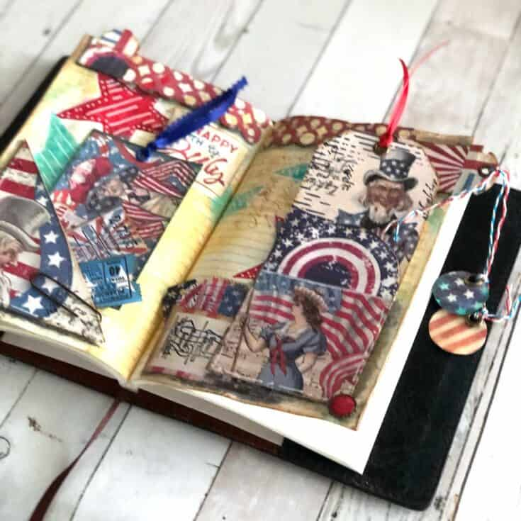 Vintage 4th of July Patriotic Junk Journal Page Layout