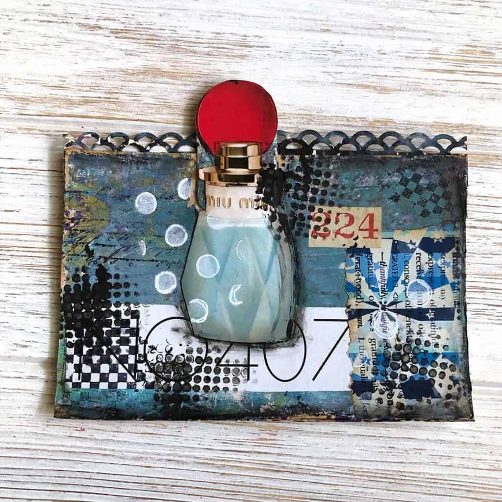 Perfume Bottle - Feminine Altered Rolodex - Blue and black and white.