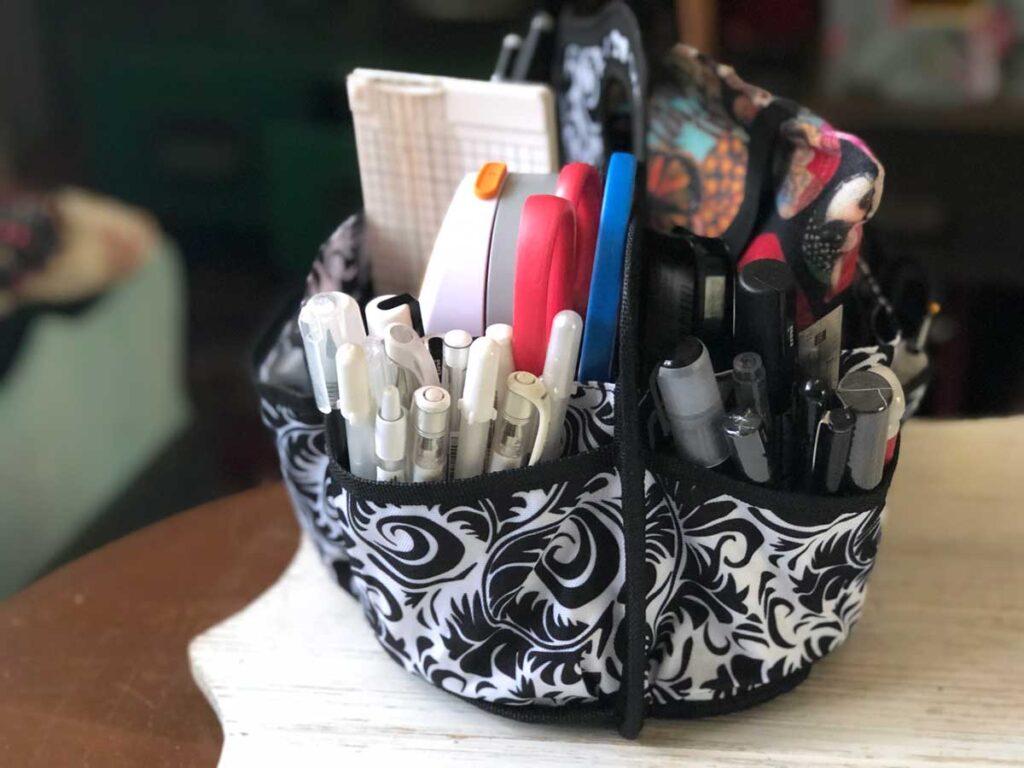 Bag of junk journal supplies