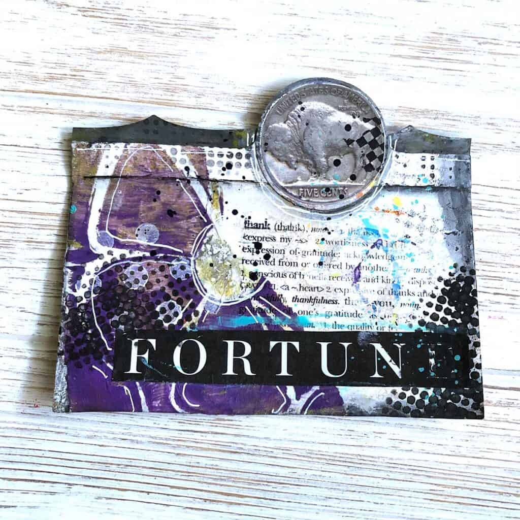 Money Purple Flower Altered Card