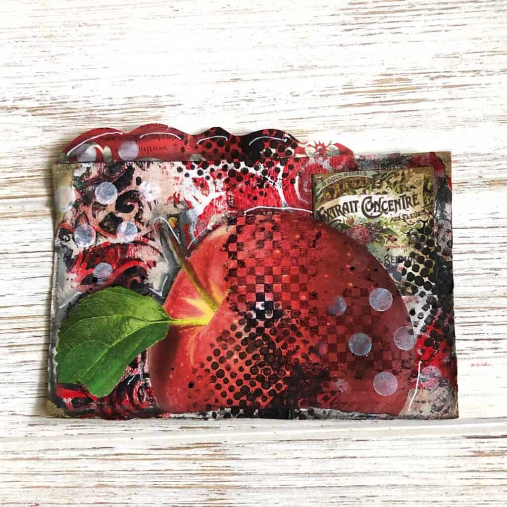 Red Apple Altered Rolodex Card