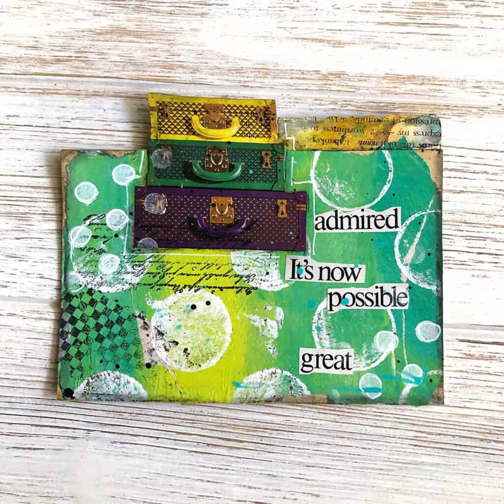 Suitcases Altered Card - Green & Yellow Travel Themed