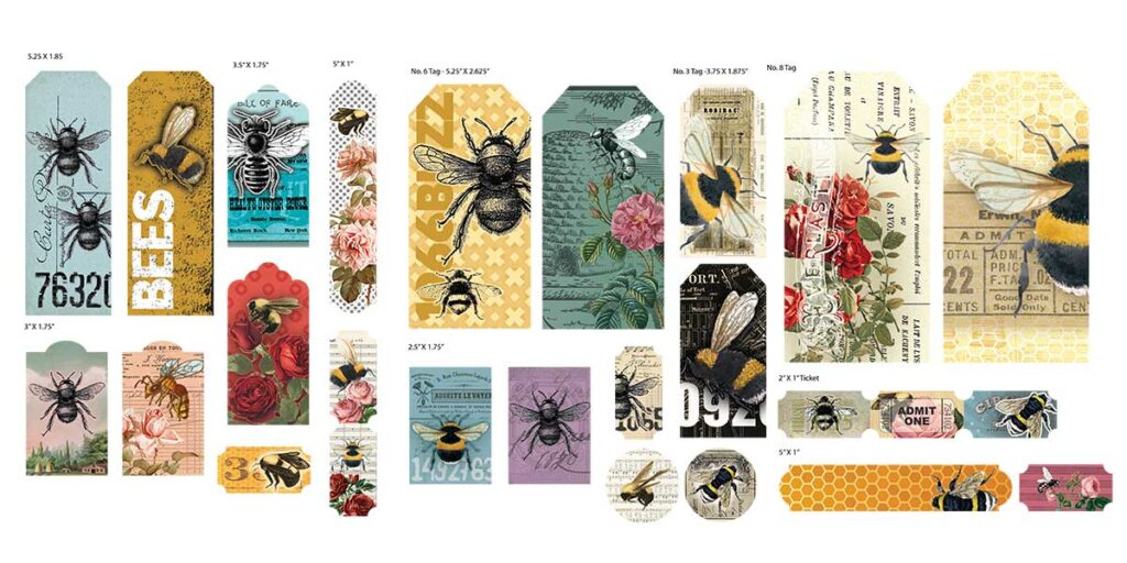 Three pages of printable bee tags
