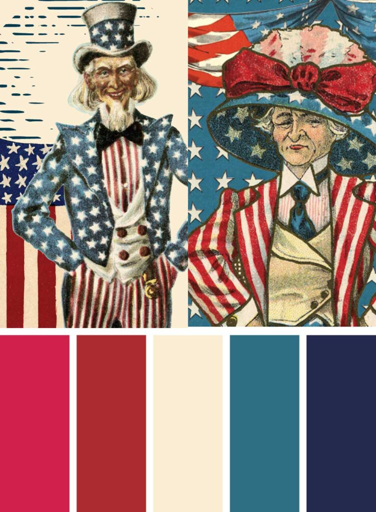 Vintage 4th of July Color Palette with pictures of Uncle Sam and Mrs Sam.