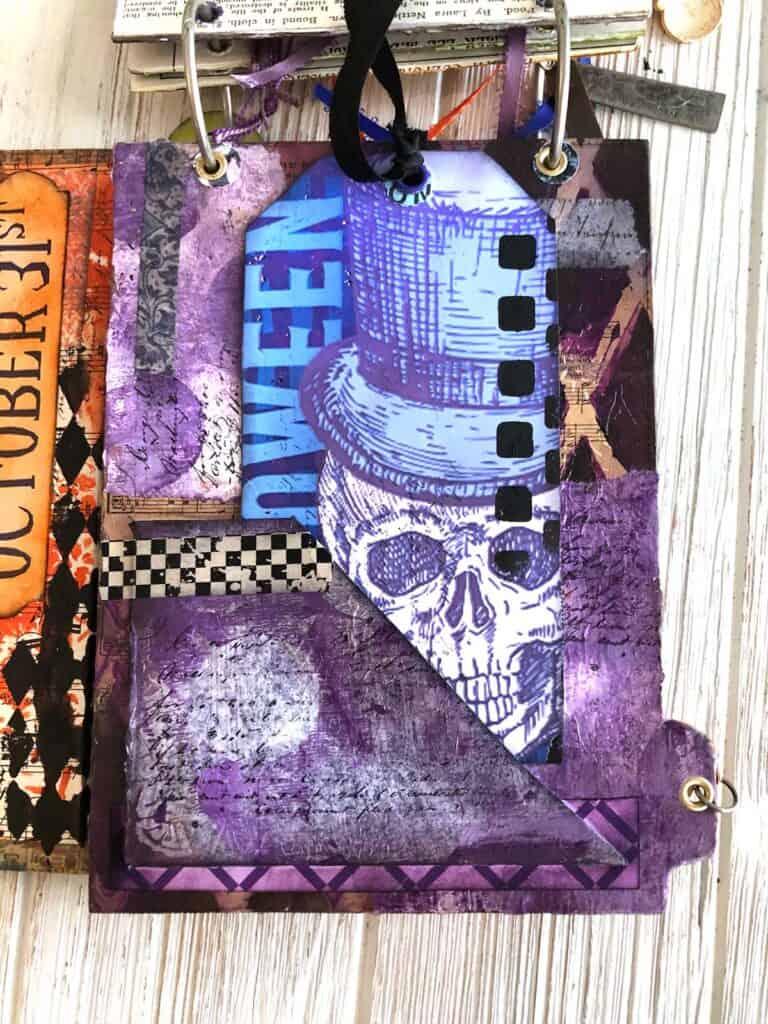 Blue Skull Halloween Junk Journal Tag