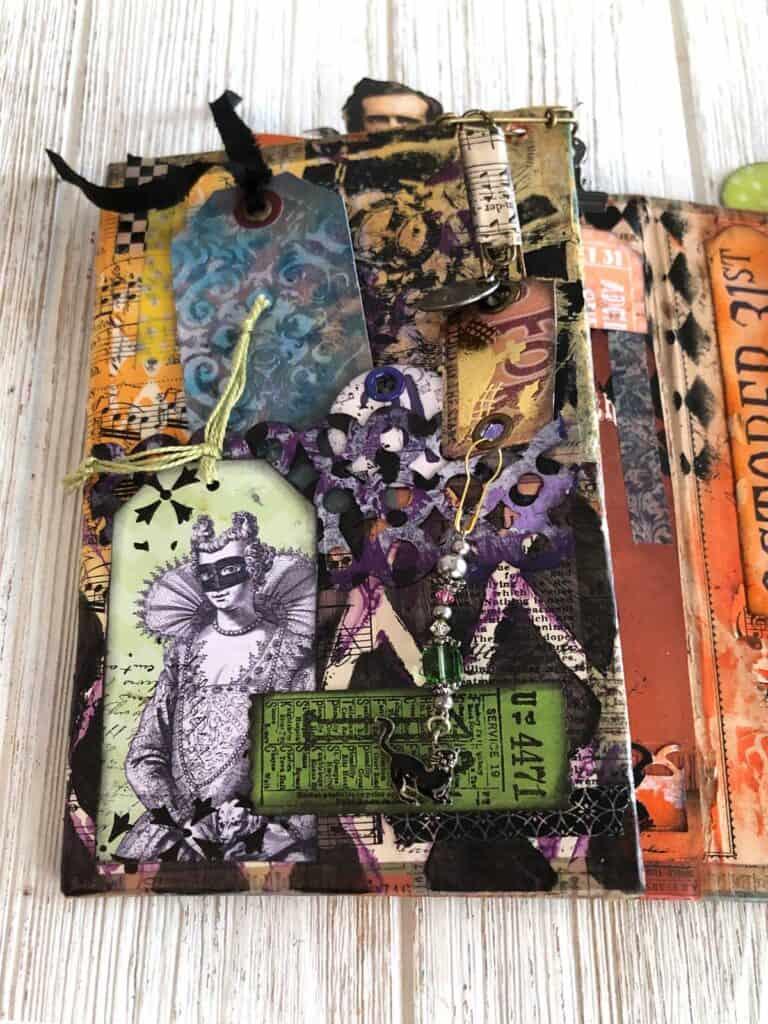 Halloween Junk Journal - Green Ticket Masquerade