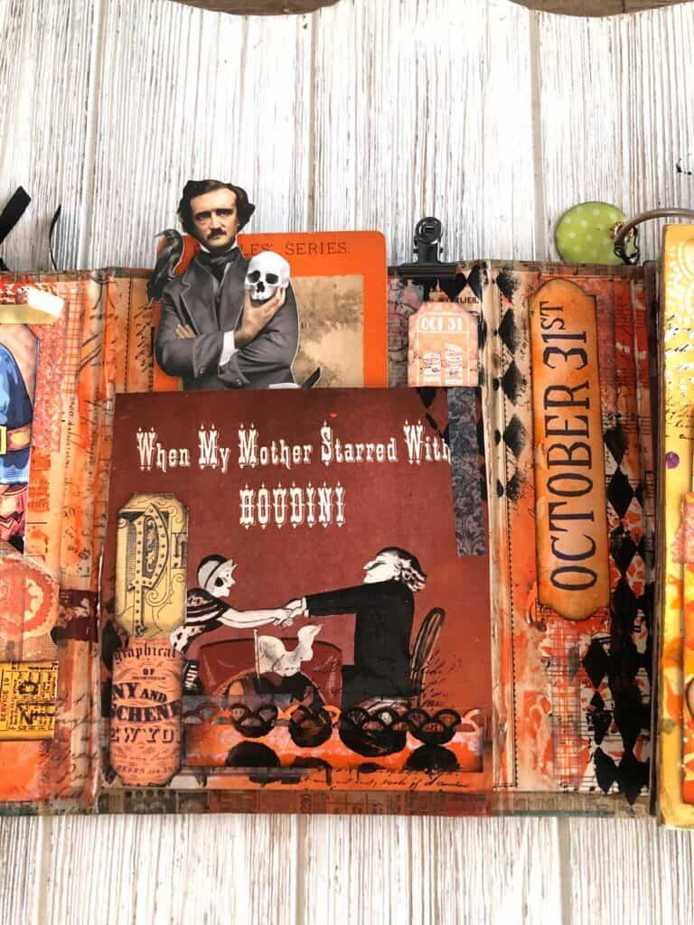 My Mother and Houdini Halloween Junk Journal  Inside Cover