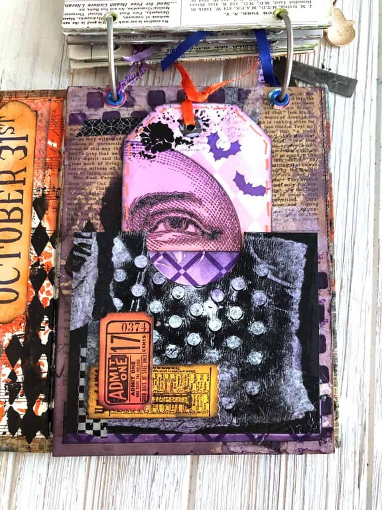 Orange and Purple Junk Journal Page - Halloween Moon
