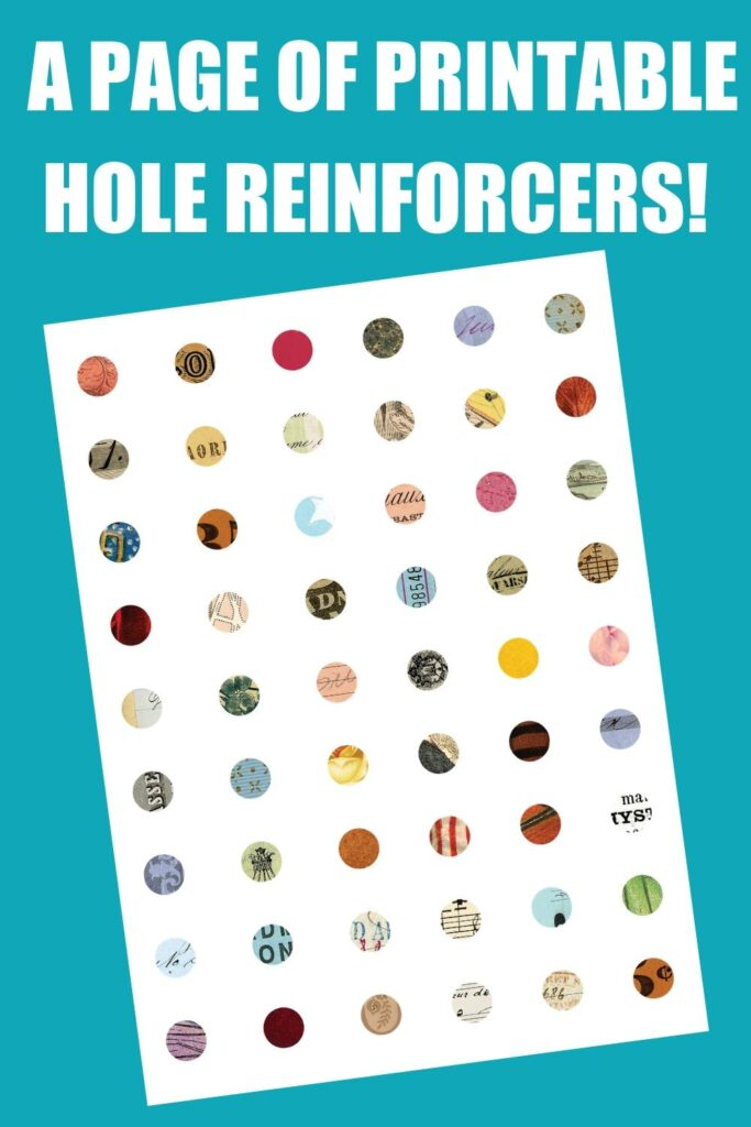 Page of Printable Hole Reinforcers