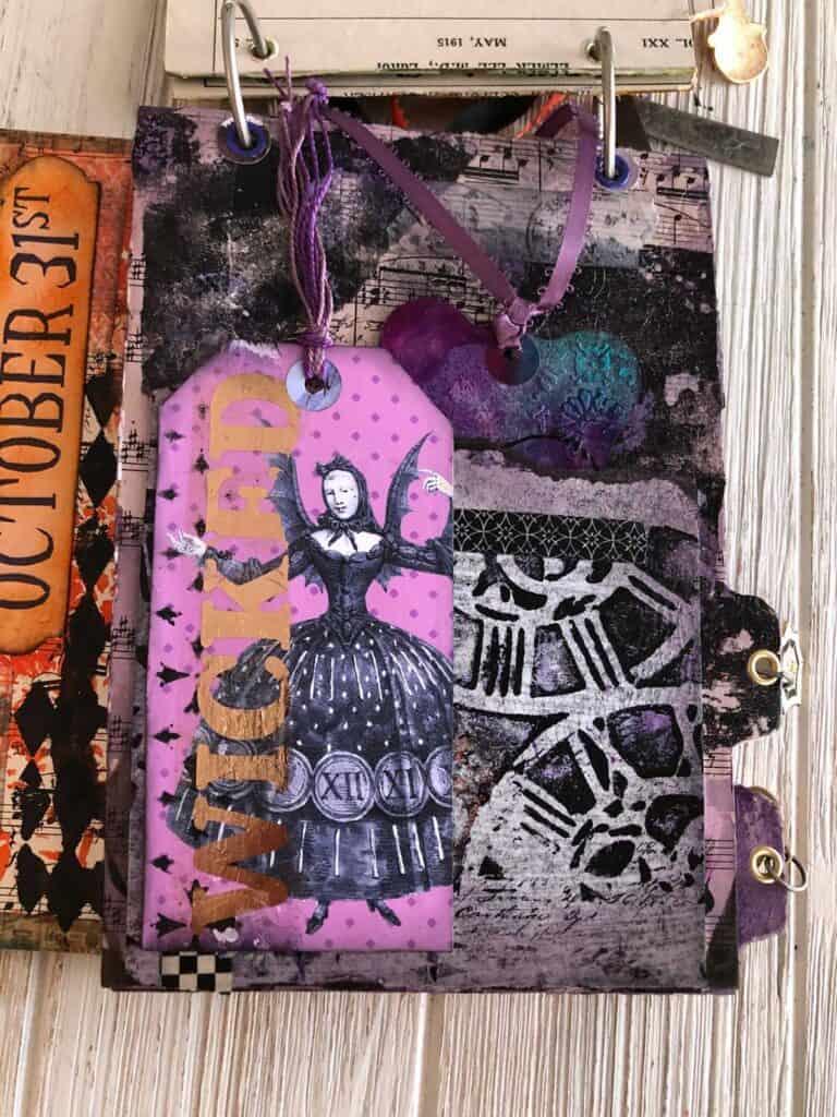 Purple Wicked Witch Page - Halloween Junk Journals