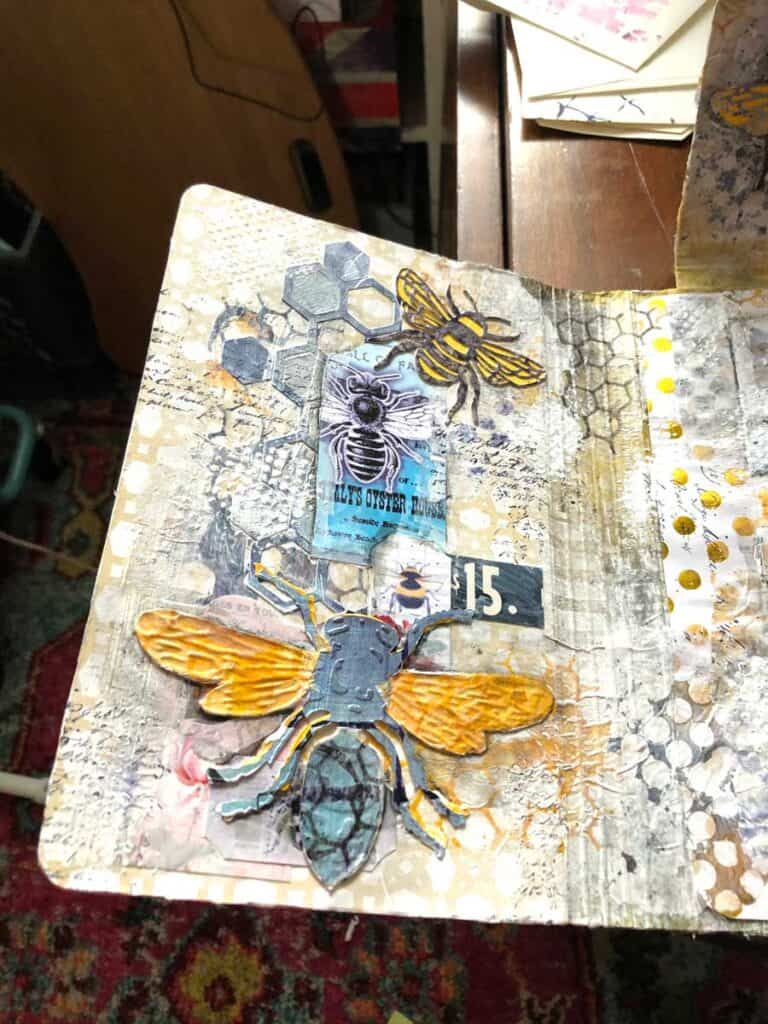 Adding Die Cut Bumble Bees, Bee Hive and Bee Ephemera
