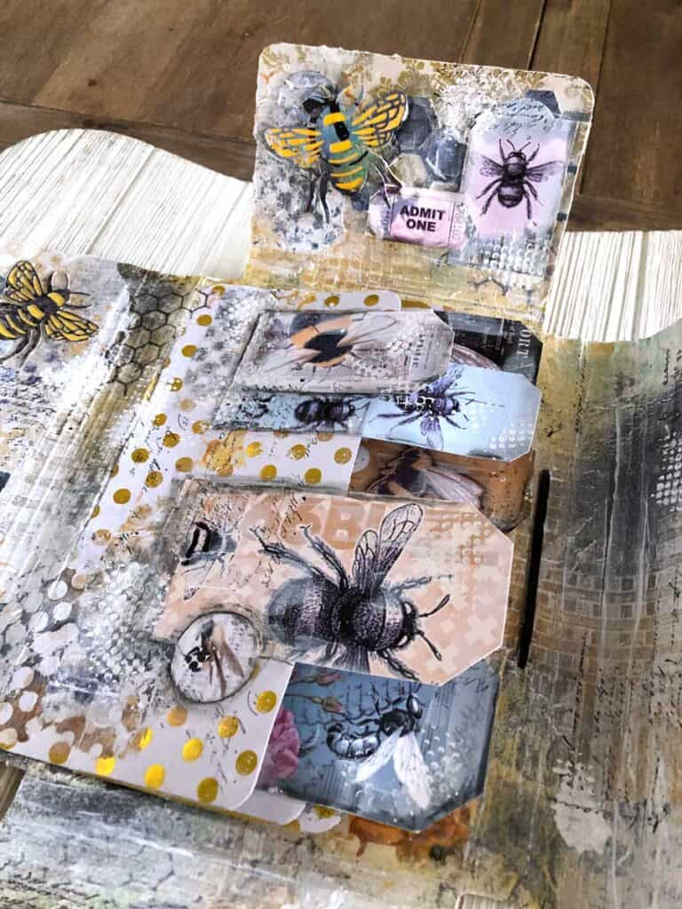 Bee Folio - Inside Waterfall, Bee Tags and Tickets, Bee Die Cuts
