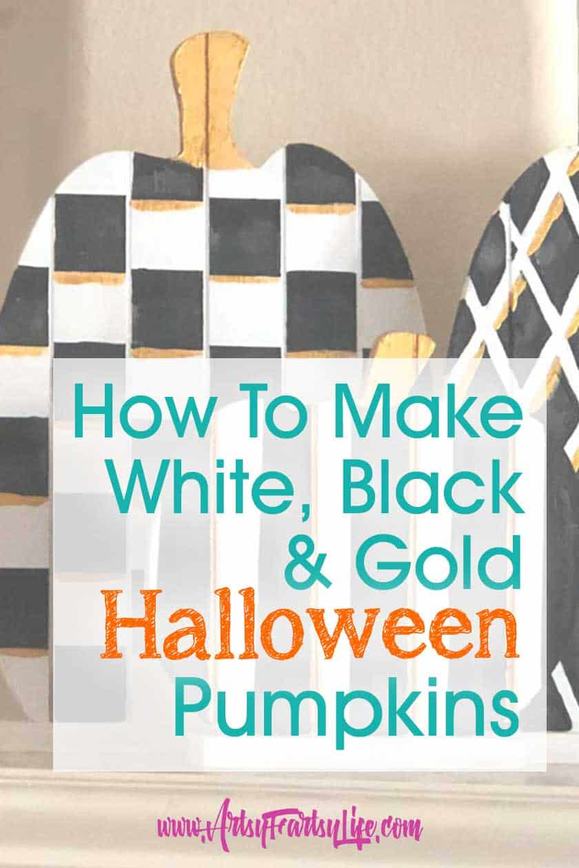 How To Make Painted Black, White and Gold Halloween Pumpkins