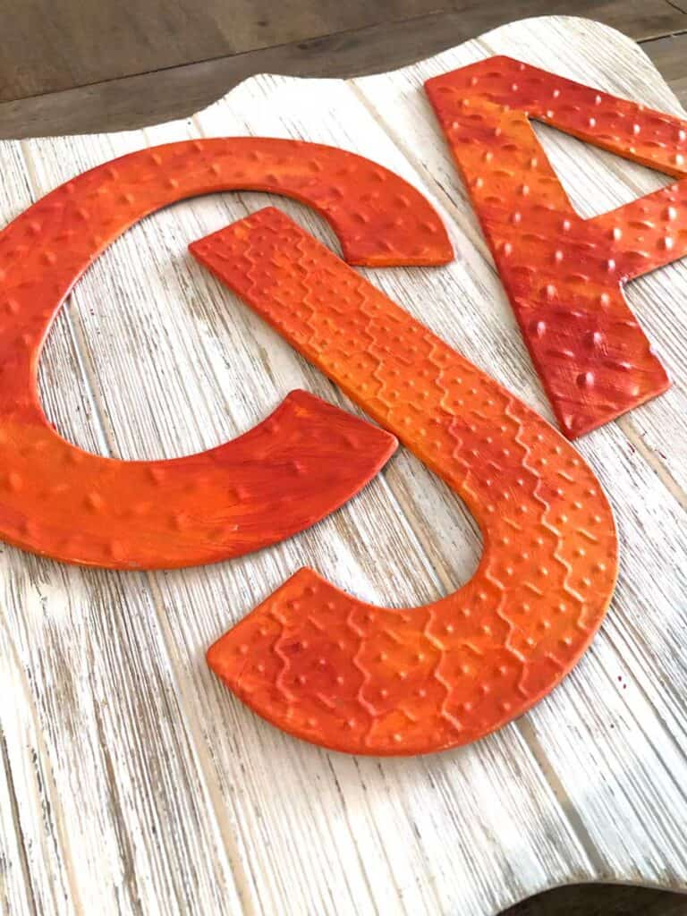 Halloween Orange Metal Letters - Acrylic Painted Letters