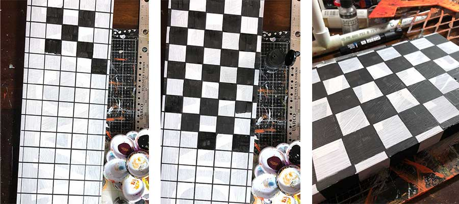 Painting the checkerboard - Step by step