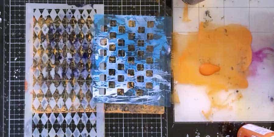Place stencils on gel plate