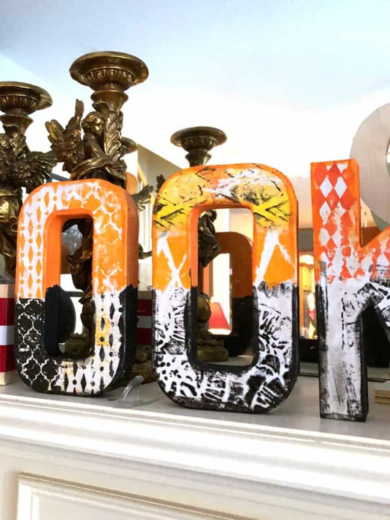 Closeup of Spooky Halloween Paper Mache Letters