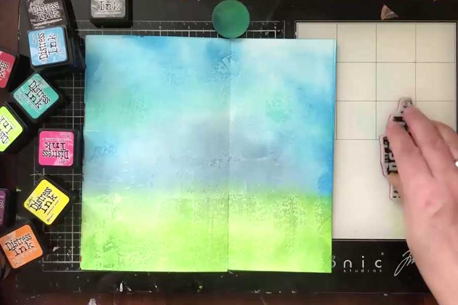 Make background with distress ink pads