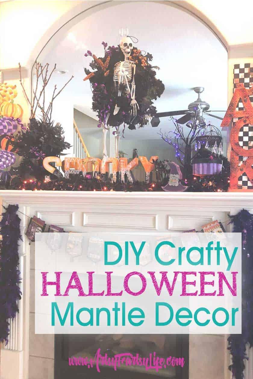 DIY Decorating My Halloween Mantle (Purple and Orange Theme)