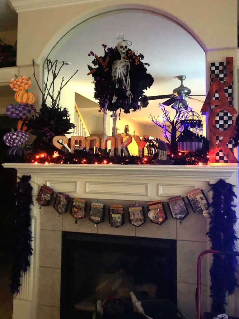 Night view of my halloween mantle with the lights on!