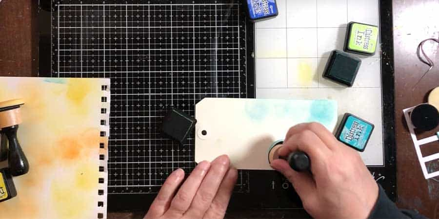 Put down some ink stamp colors using a blending tool