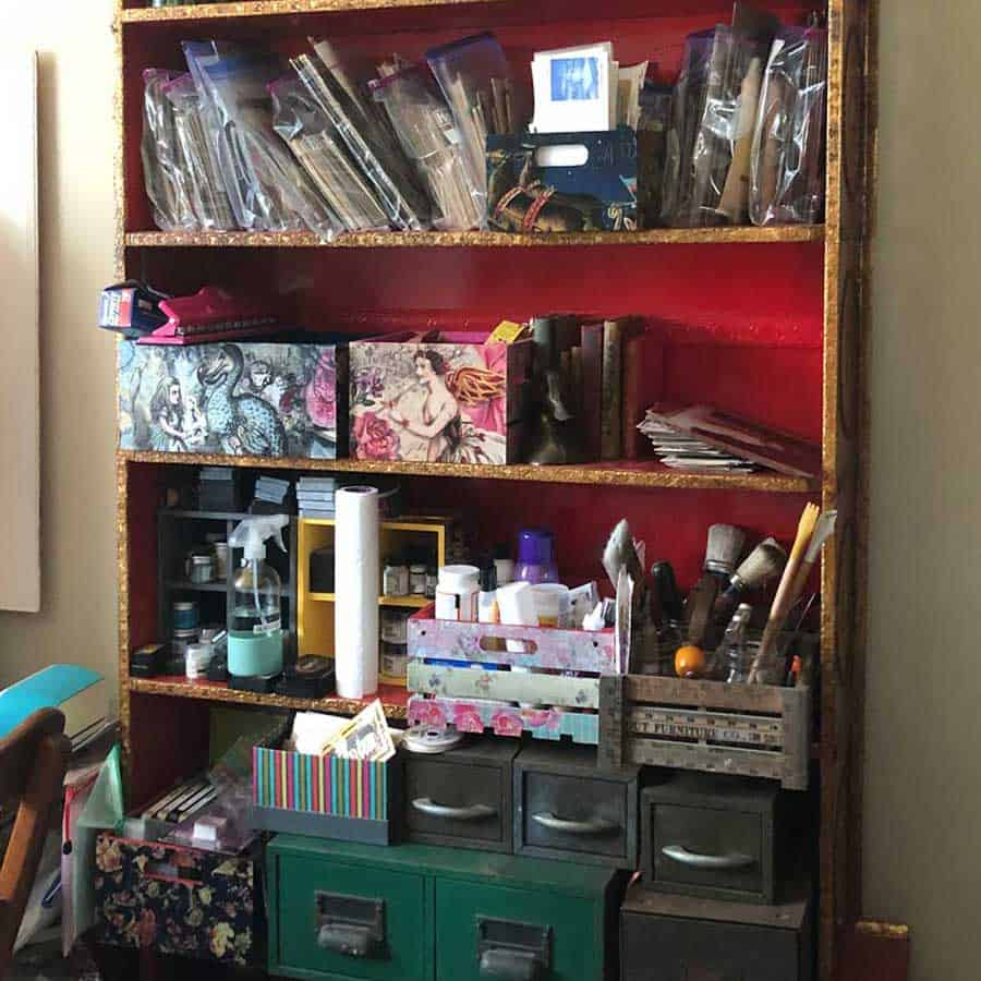 Big bookcase with lots of shelves for organizing crafts