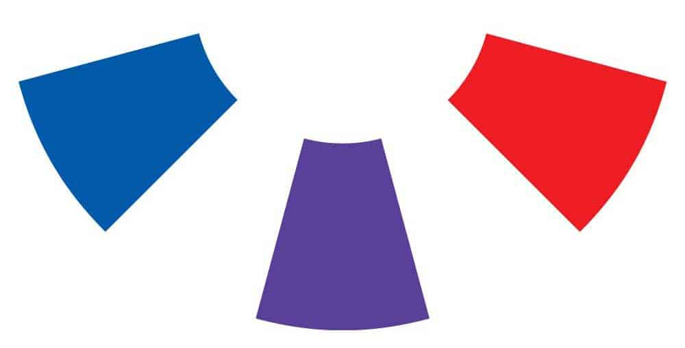 Red and blue make purple on the color wheel