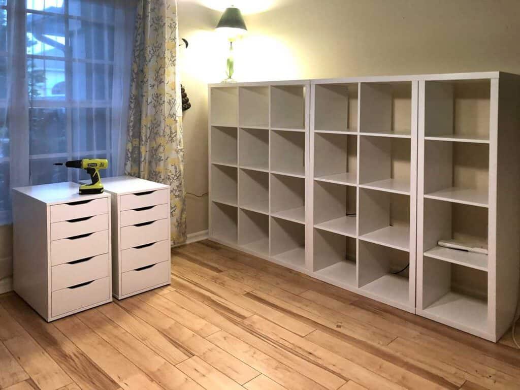 Ikea Kallax Cubes and Alex Desks
