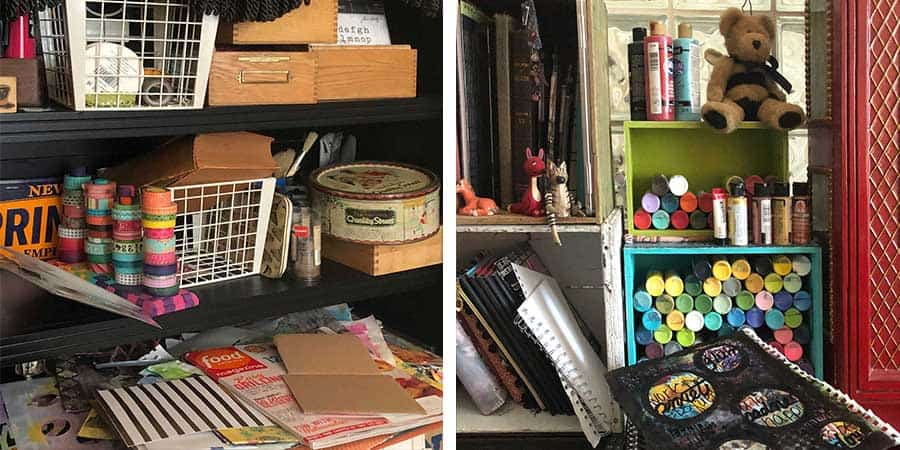 What doesn't work in my craft room before the makeover - there are piles all around and it looks messy even when it is straightened up.