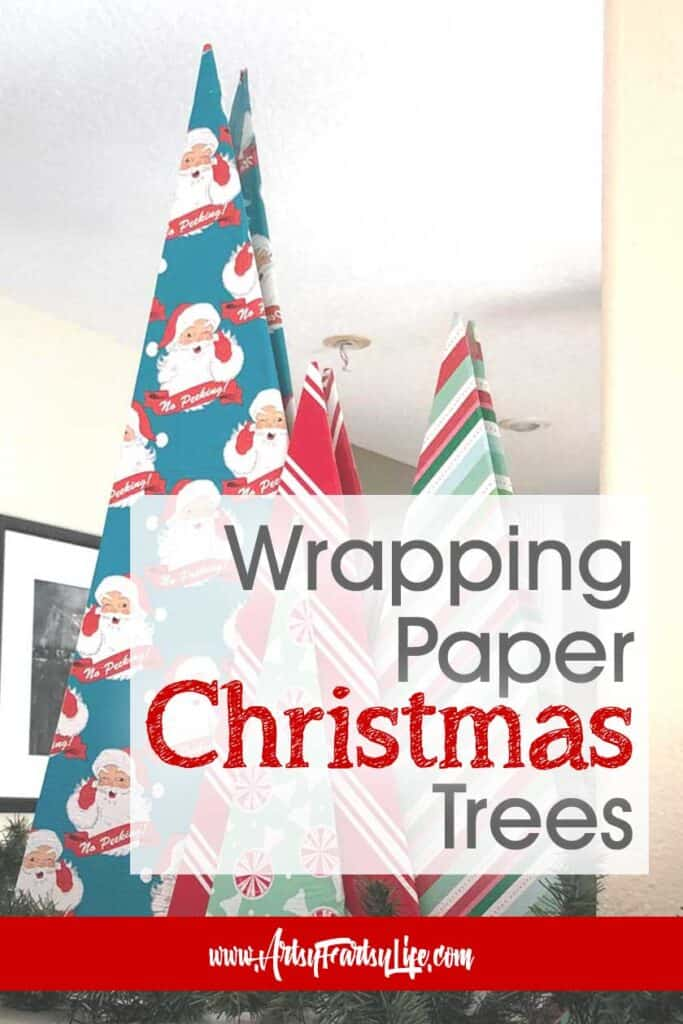 Wrapping Paper Christmas Trees - DIY Christmas Decor Ideas