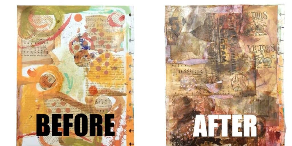 Before and After of a horrible mixed media background