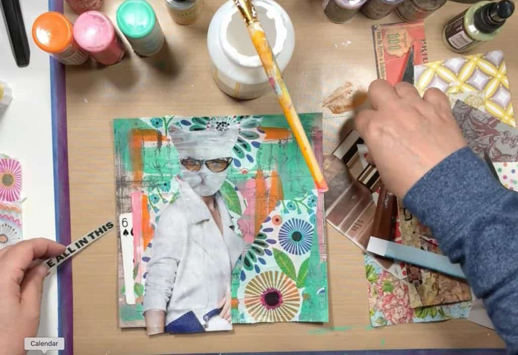 Cut out magazine images and stick down with mod podge