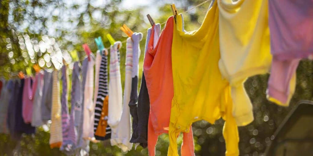 Drying clothes on the line in sunlight