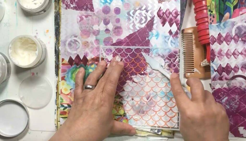 Spreading texture paste with a palette knife