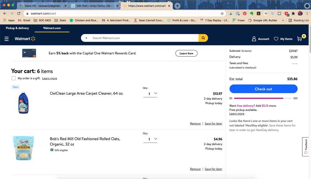 Usar el sitio web de Walmart para comprar