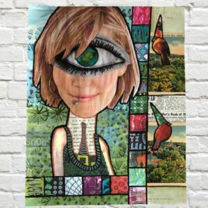 Cyclops Girl Magazine Collage - This was the first one eyed girl I did and LOVE how her eye is the world! Creative borders and colors in this one!