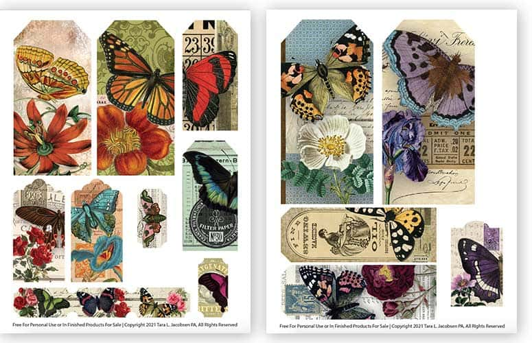 Free Printable Collage Sheets - Butterfly